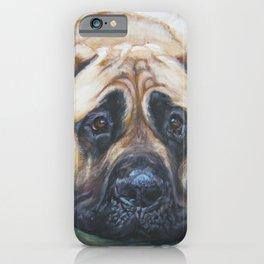 A realistic American Mastiff portrait by L.A.Shepard fine art painting iPhone Case