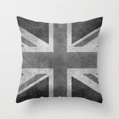 Union Jack  Vintage 3:5 Version in grayscale Throw Pillow