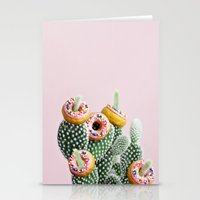 Stationery Cards featuring Donut Cactus In Bloom by picturing juj