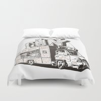 shopping Duvet Covers featuring Shopping Truck by Mitt Roshin