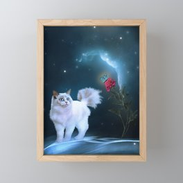 The Rose and the Cat Framed Mini Art Print