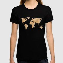 World Map Metallic Copper on Navy Blue T-shirt