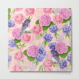 Robin and flowers, watercolor pattern Metal Print