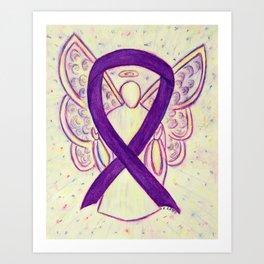 Purple Awareness Ribbon Angel Art Painting Art Print