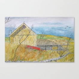 The Old Yellow Barn Canvas Print