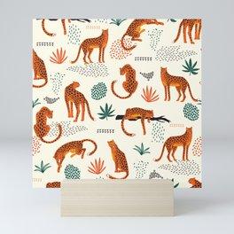 Seamless pattern with leopards Mini Art Print