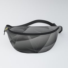 Metallic pattern of chaotic black and white fragments of glass, foil, highlights and silver plates. Fanny Pack