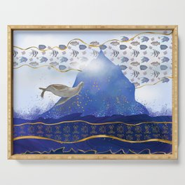 Flying Sea Lion Over Rising Oceans - Surreal Climate Change Painting Serving Tray