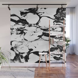 Black And White Wet Watercolour Paint Textur Wall Mural