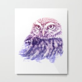 OWL SUPERIMPOSED WATERCOLOR Metal Print