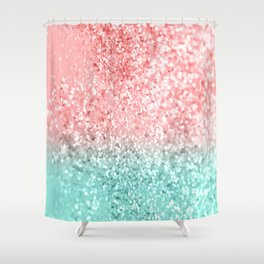 Summer Vibes Glitter #3 #coral #mint #shiny #decor #art #society6 Shower Curtain