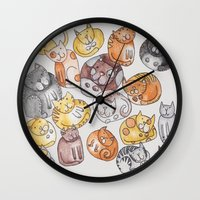 a lot of cats Wall Clocks featuring Lot of cats by Billie La Roche