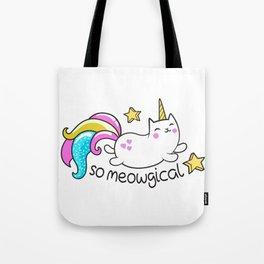 Kawaii Meowgical Glittery Unicorn cat Tote Bag