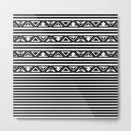 Traditional Ethnic Tribal Geometric Navajo Native American Motif Pattern Black and White Metal Print