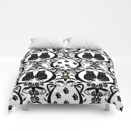 Midnight Cat Does Damask  Comforters