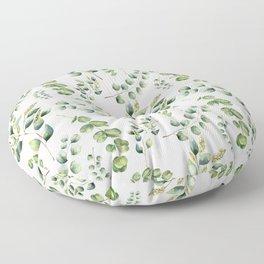 Eucalyptus, Eucalypto leaves, Jungle, Tropical, Green Floor Pillow