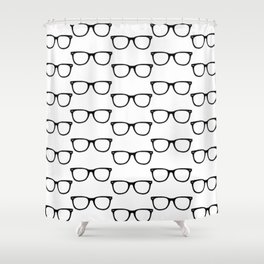 Black Funky Glasses Shower Curtain