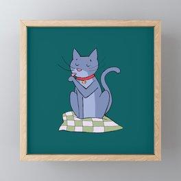 cat hygiene Framed Mini Art Print