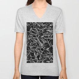 Hex & Swirl - Black and White Marble Pattern Unisex V-Neck