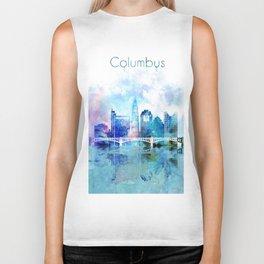 Columbus city watercolor skyline Biker Tank