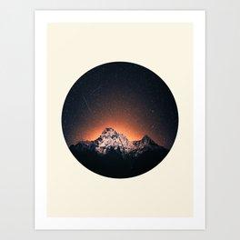 Glowing Star Sky Behind Snow Mountain Round Photo Vintage Art Print
