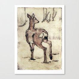 Deer | Watercolored Etching Canvas Print