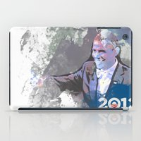 obama iPad Cases featuring Obama 2012 by Ron Jones The Artist