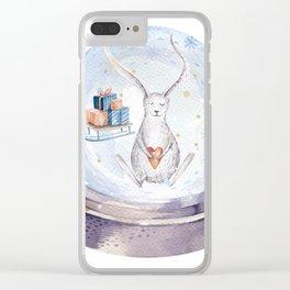 Christmas bunny #3 Clear iPhone Case