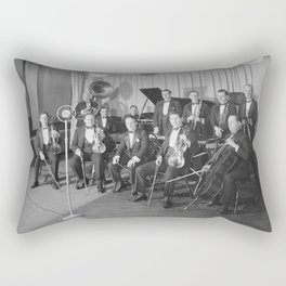 Vintage black and white photo of orchestra Rectangular Pillow