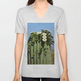 Beautiful Saguaro Blossoms Unisex V-Neck