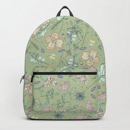 Scattered Floral Bloom Retro Green Pattern Backpack