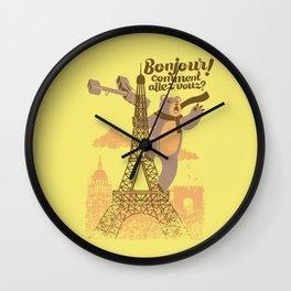 Paris King Kong Bear Eiffel Tower Wall Clock