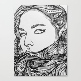 Girl with the Swirling hair 2 Canvas Print