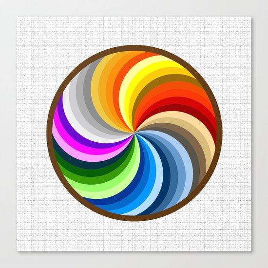 Rainbow Swirl Multi-Coloured Circle Design Canvas Print