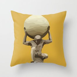 Yellow Man with Big Ball Illustration Throw Pillow