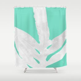 Green Fern on Ice Mint Green Inverted Silver Shower Curtain