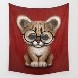 Cute Cougar Cub Wearing Reading Glasses on Red Wall Tapestry