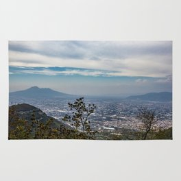 View of the valley from the Regional Park of Monti Lattari, Pompeii and Mount Vesuvius Rug