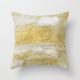 Marble - Glittery Gold Marble and White Pattern Throw Pillow