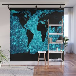 wOrld map Turquoise Sparkle Wall Mural