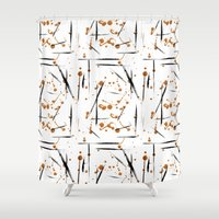 black and gold Shower Curtains featuring black & gold by Jecca All