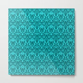 DAMASK | teal aqua Metal Print