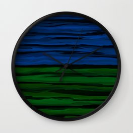 Emerald Green, Slate Blue, and Black Onyx Spilt Wall Clock