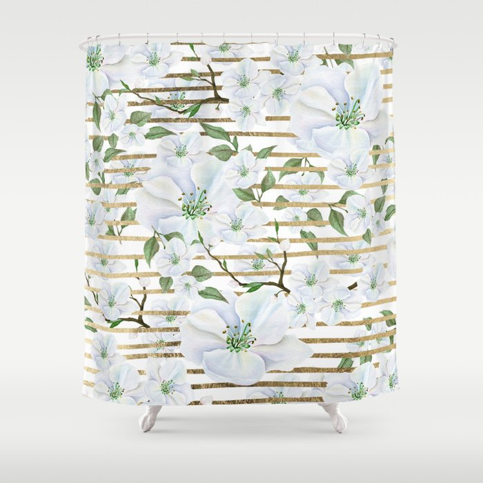 Elegant White Faux Gold Stripes Watercolor Hand Painted Floral Shower Curtain