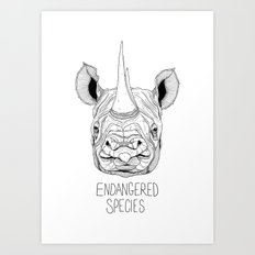 Endangered Species Rhino Art Print