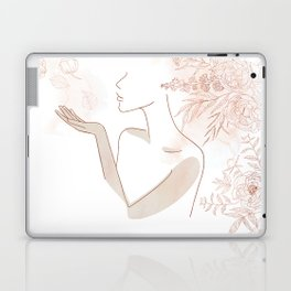 Minimal Line Art Woman with Flowers II Laptop & iPad Skin