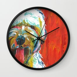 Soft-Coated Wheaten Terrier // Colorful  Wall Clock