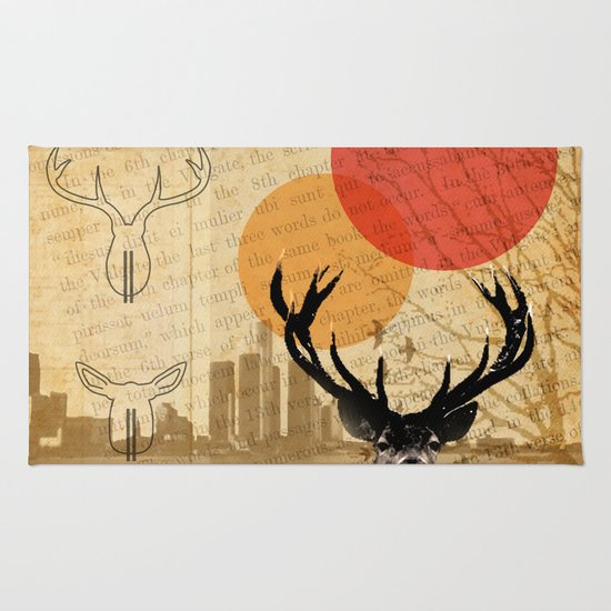 deer in the city Rug
