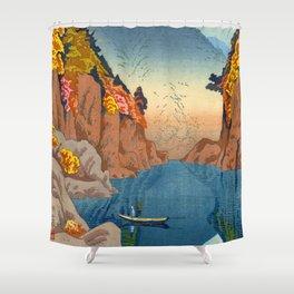 Asano Takeji Views of Wakayama Vintage Japanese Woodblock Print Landscape Asian Art Shower Curtain