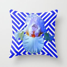 MODERN BLUE & WHITE ART DECO PATTERN IRIS Throw Pillow